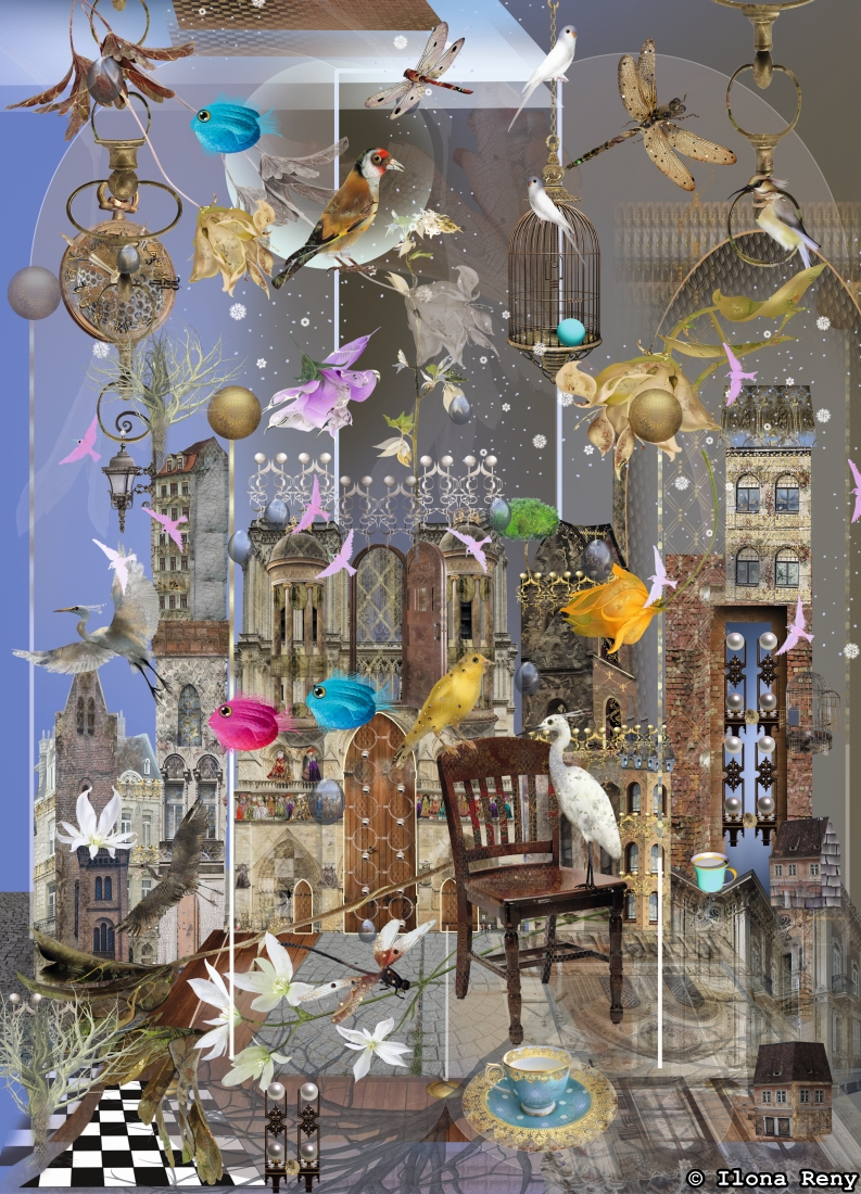 postcard p45 by Ilona Reny two birds are talking on a chair over a grayish morning city background with many flowers, birds and dragon-flies in air