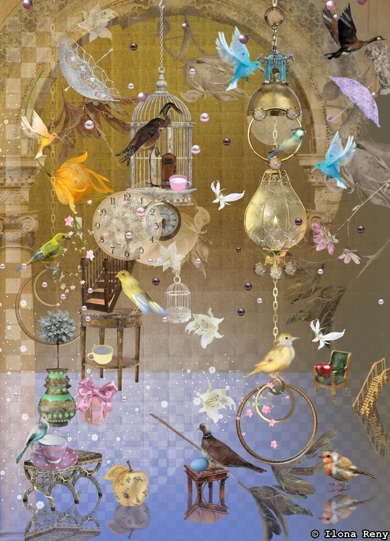 """Postkarte """"Warm light, cold light"""" Nr.: P46 Auf dieser Postkarte sehen wir eine Traumszene mit vielen Vögeln und Blumen, die in der Luft schweben."""