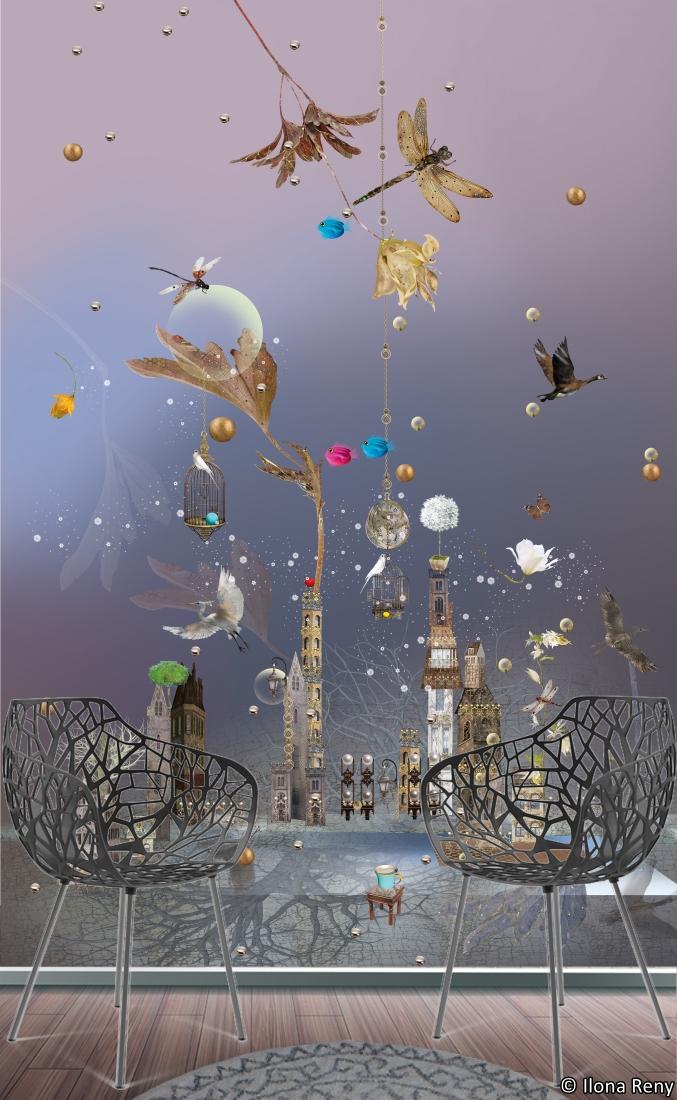 Dragon-fly dreams of birds / Fototapete 07 von Ilona Reny Geheimnisvolle Schatten und Lichter