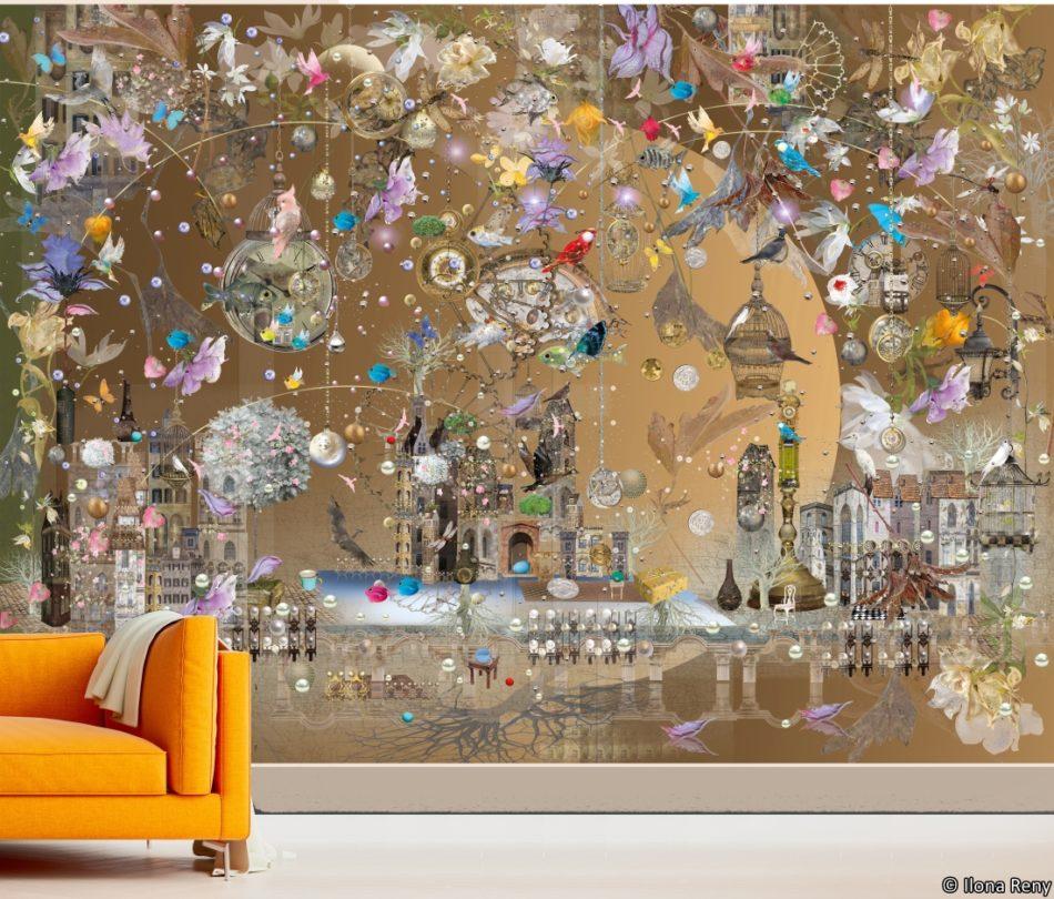 Fairytale Castle Garden Fototapete Ilona Reny und orange Sofa