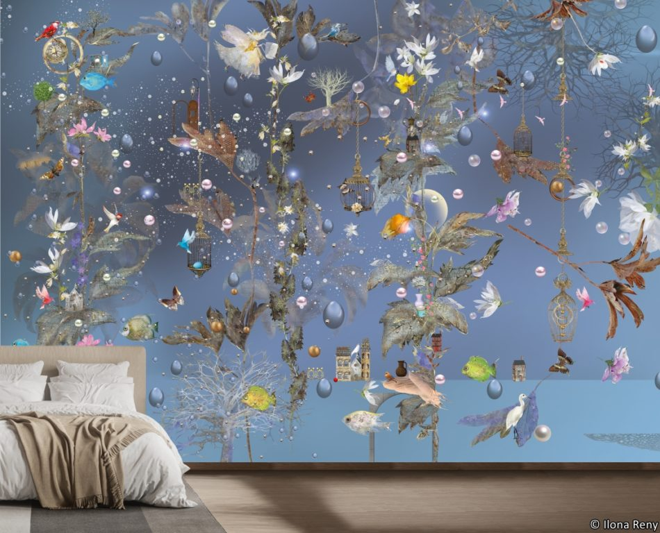 ilona Reny wallpaper rain of flowers and plants wallpaper for bedroom