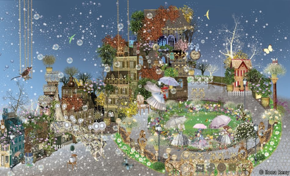 ilona reny children wallpaper 04 fairy park B size blue sky and mouse on a whip garden with old houses, fairies walking with umbrellas in snow