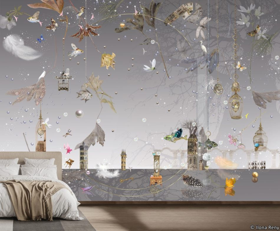 Morning Light City Wallpaper Mural by Ilona Reny gray sky, plants and flowers in bedroom